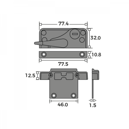 Cam Lock Fastener and Keep Dimensions