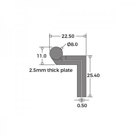 Cranked Large Washered Storm Proof Hinge 64mm Dimensions