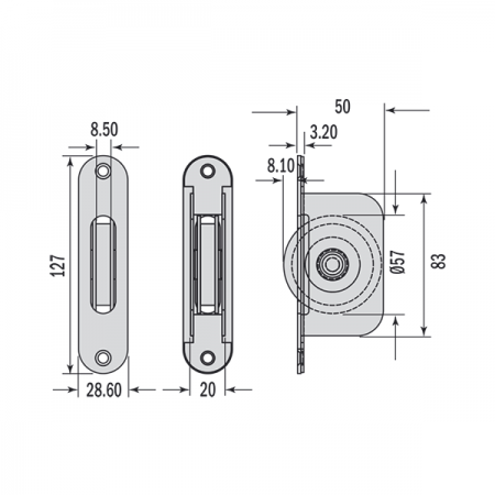 Dimensions for radius end pulley