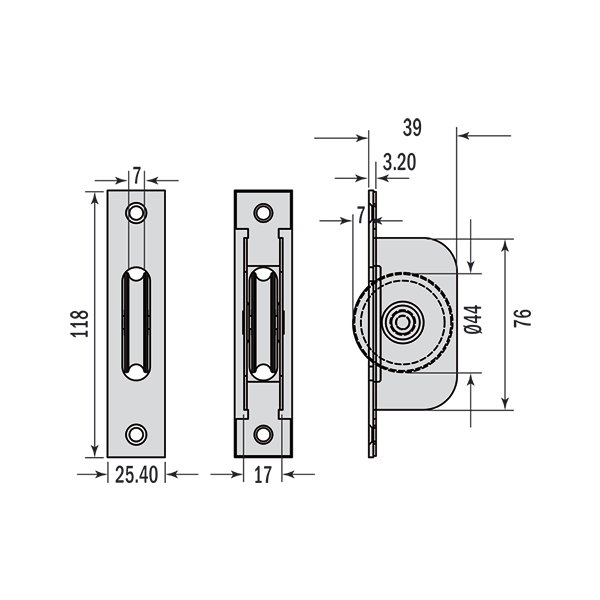 Rustproof Pulleys Square End Dimensions