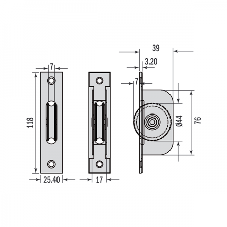 Standard Axel Wheel Pulleys Square End Dimensions