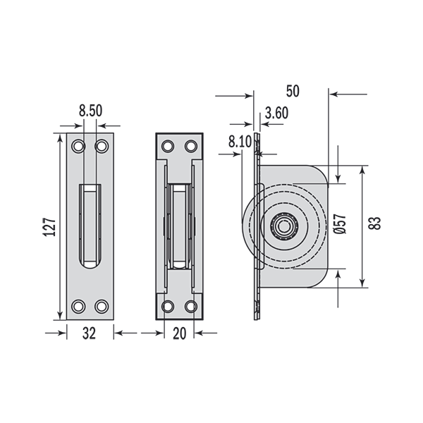 Dimensions for square end pulley