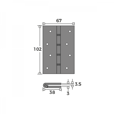 Double Phosphor Bronze Washered Hinge 102mm Dimensions