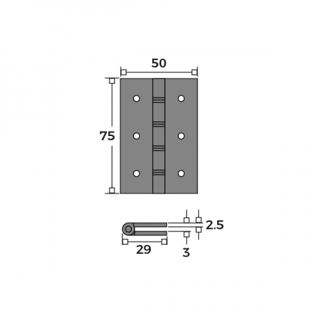 Double Phosphor Bronze Washered Hinge 76mm Dimensions