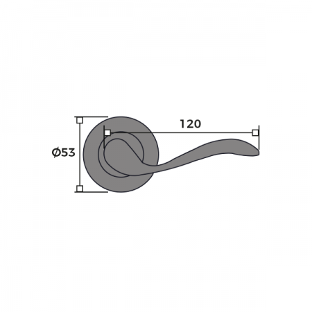 Swirl Internal Round Rose Door Handle Dimensions
