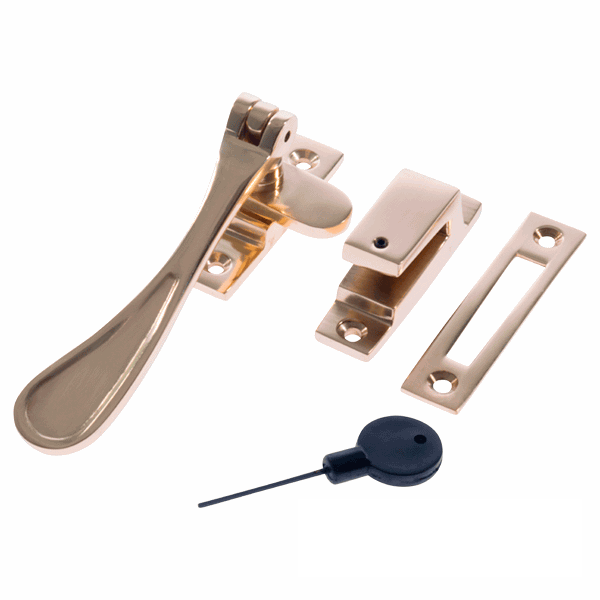 Luxury Forged Spoon End Locking Fastener - polished-brass
