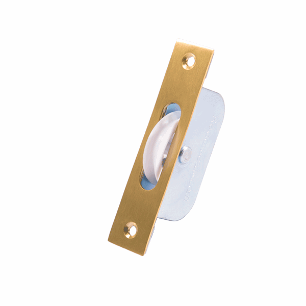 Standard Axle Wheel Sash Pulley - square-end - brass