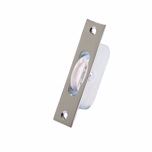 Standard Axle Wheel Sash Pulley - square-end - polished-chrome