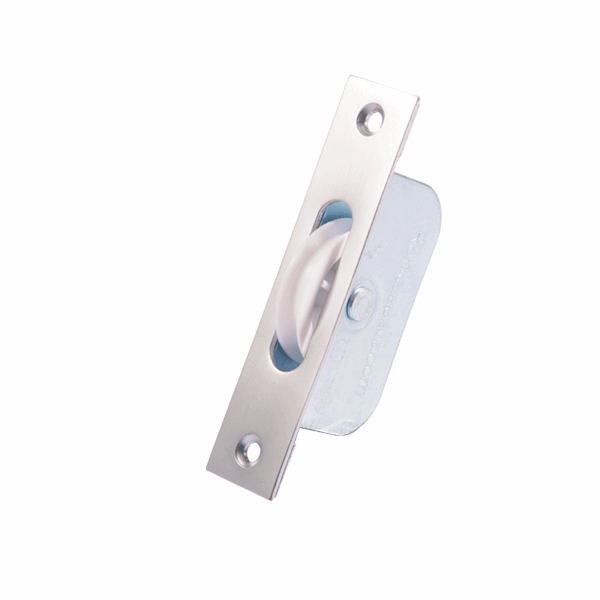 Standard Axle Wheel Sash Pulley - square-end - satin-chrome