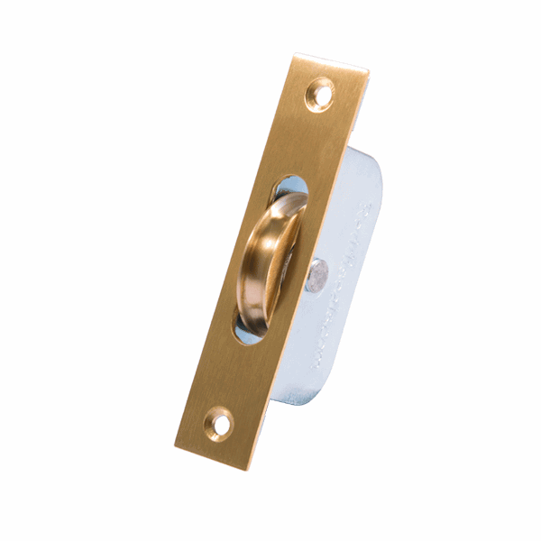 Standard Curved Wheel Sash Pulley - square-end - brass