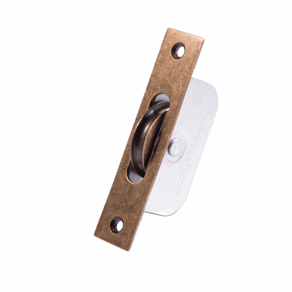 Standard Curved Wheel Sash Pulley - square-end - antique-brass