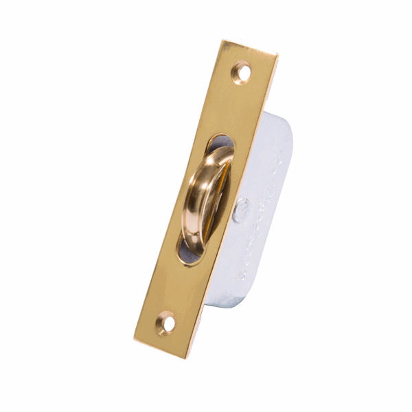 Standard Curved Wheel Sash Pulley - square-end - polished-brass