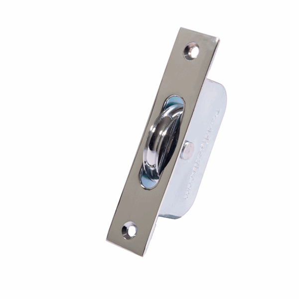 Standard Curved Wheel Sash Pulley - square-end - polished-chrome