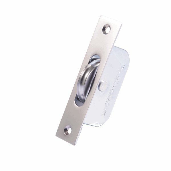 Standard Curved Wheel Sash Pulley - square-end - satin-chrome