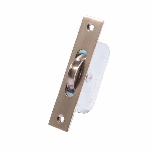 Standard Curved Wheel Sash Pulley - square-end - satin-nickel