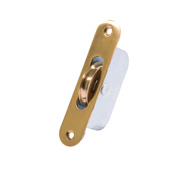 Standard Curved Wheel Sash Pulley - radius-end - polished-brass