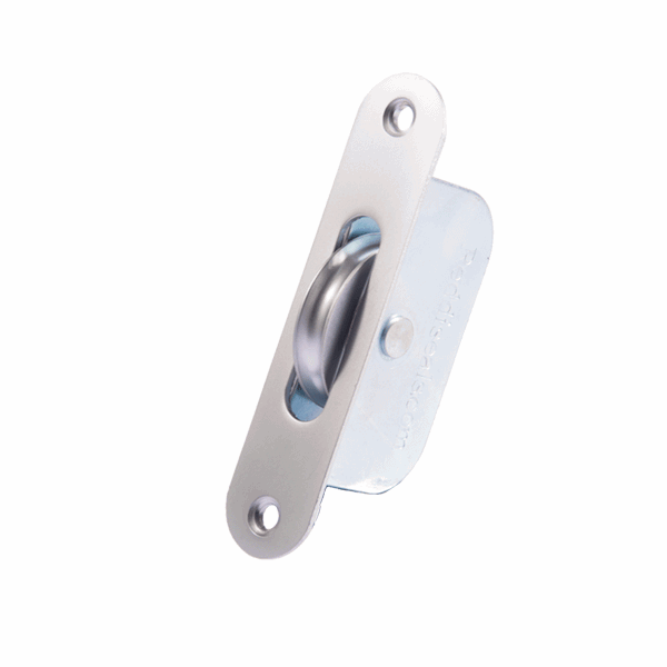 Standard Curved Wheel Sash Pulley - radius-end - satin-chrome