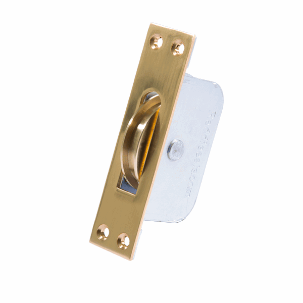 Large Square Wheel Sash Pulley - square-end - polished-brass