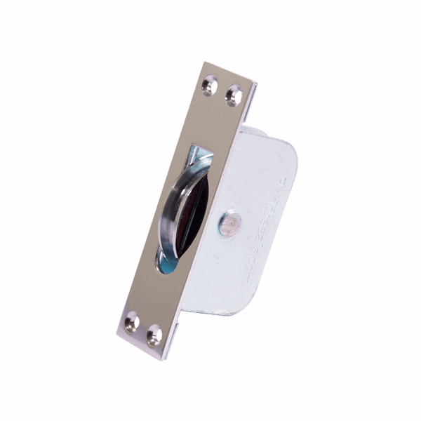 Large Square Wheel Sash Pulley - square-end - polished-chrome
