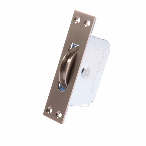 Large Square Wheel Sash Pulley - square-end - satin-nickel