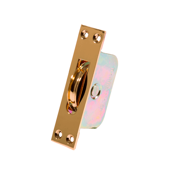 Large Curved Wheel Sash Pulley - square-end - pvd-brass