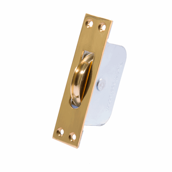 Large Curved Wheel Sash Pulley - square-end - polished-brass