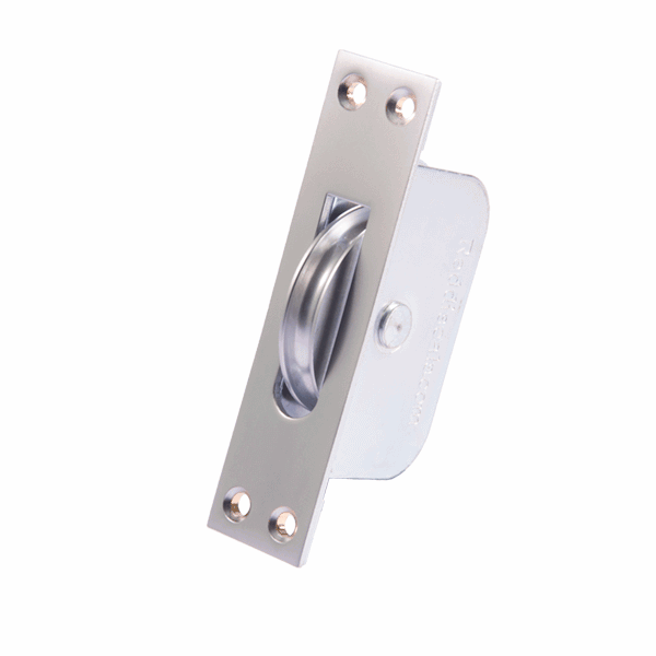 Large Curved Wheel Sash Pulley - square-end - satin-chrome