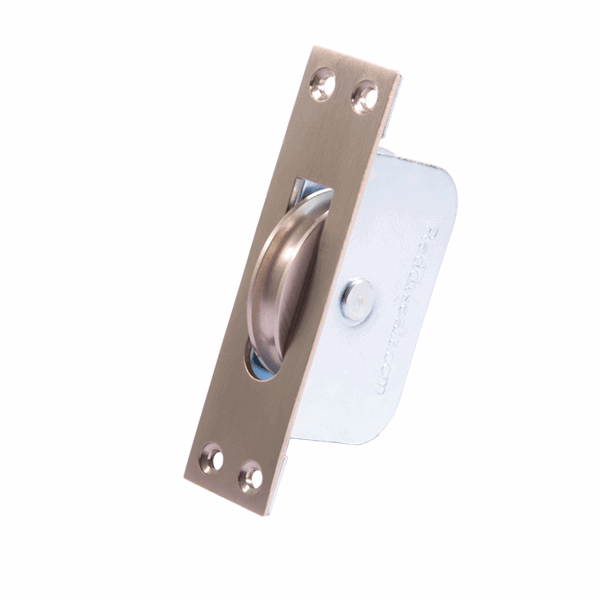 Large Curved Wheel Sash Pulley - square-end - satin-nickel